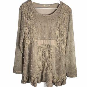 INDIGO SOUL Long-sleeve Crochet/Lace Tunic Top